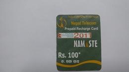 Nepal-NAMASTE-(prepiad Recharge Card)-(rs.100)-(11)-(88546262746865)-(31.1.2013)-used Card - Nepal