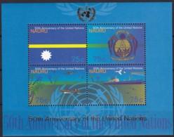 Nauru, 1995, 410/13 Block 12, 50 Jahre Vereinte Nationen (UNO).  MNH ** - Nauru