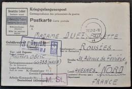 CP Prisonnier De Guerre STALAG VI J Censure Illustrée Croix Gammée RAGD Vers Rousies Nord Décembre 1942 - Poststempel (Briefe)