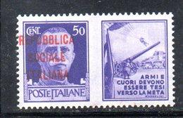 XP3153 - R.S.I. , N. 34 Varietà : Soprastampa Spostata  *** - 4. 1944-45 Repubblica Sociale