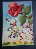 19896) PAPERINO E NIPOTINI E GRANDE ROSA AUGURALE VIAGGIATA - Disney