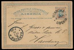 LIBERIA. 1894. Monrovia - Germany. 3c Stat Card. XF. - Liberia