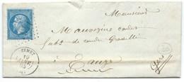 N° 22 BLEU NAPOLEON SUR LETTRE / EYMET DORDOGNE POUR EAUZE / 1865 - 1849-1876: Période Classique