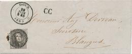 627/28 - Lettre TP Médaillon (coupé) Barres 13 Distribution DOUR 1859 Vers BLAUGIES - RARE Cachet CC - 1858-1862 Medallions (9/12)