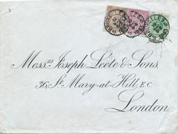 630/28 - Enveloppe TP 45 , 46 Et 49 BRUXELLES 1893 Vers LONDON UK - TB Combinaison Pour 50 C Double Port - 1884-1891 Léopold II
