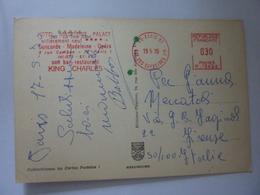 """Cartolina Viaggiata """"Paris La Tour Eiffel TIMBRO HOTEL MADELEINE PALACE"""" 1970 - Cafés, Hoteles, Restaurantes"""