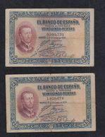 EDIFIL 325.  25 PTAS 12 DE OCTUBRE DE 1926  SIN SERIE.  LOTE DE 2 BILLETES. - 1-2-5-25 Pesetas