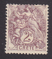 French Offices In Crete, Scott #2, Mint Hinged, Liberty, Equality And Fraternity, Issued 1902 - Creta (1902-1903)