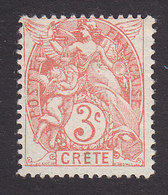 French Offices In Crete, Scott #3, Mint No Gum, Liberty, Equality And Fraternity, Issued 1902 - Creta (1902-1903)