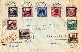 Österreich 1923, Kpl. Ausgabe Auf Einschreiben-Rückschein Brief V. Bleiburg - Lettres & Documents