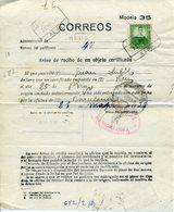 1936 SPAIN. REUS (Tarragona). Aviso De Recibo Objeto Certificado. 2 FOTOS - 1931-Aujourd'hui: II. République - ....Juan Carlos I