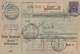 DR Paketkarte Mif Minr.219,220,223,230,2x 254 Barmen-Wichlingshausen 18.4.23 Gel. In Schweiz - Deutschland