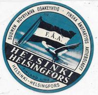 Ancienne Etiquette De Bagage Bateau à Vapeur S/S  Compagnie F.A.A. HELSINKI HELSINGFORS -FINSKA ANGFARTYGS AKTIEBOLAGET - Etiquettes D'hotels