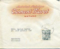 1943 SPAIN. MATARÓ (Barcelona). Sobre Comercial Con Fechador De Mataró. - 1931-50 Briefe U. Dokumente
