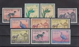 Afghanistan 1961 Pferd, Dromedar, Hund, Gans Mi.-Nr. 520-29 Satz 10 Werte **  - Afghanistan