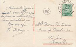 647/28 - Carte Fantaisie TP Petit Albert 5 C (Type V - 137AA) OOSTENDE 2 En 1919 Vers BXL - COB 60 EUR S/document - 1915-1920 Albert I