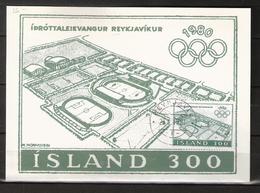 Iceland 1980- Mi 555 Olympic Games, Stadion Reykjavik On Maximum Card Cancelled 24.6.1981 - 1944-... Republique