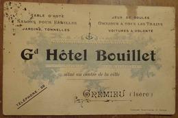 CARTE DU GRAND HÔTEL BOUILLET à CRÉMIEU (ISÈRE) - Cartes D'hotel