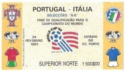Biglietto PORTOGALLO-ITALIA 24/02/1993 QUAL. USA 94 - Calcio