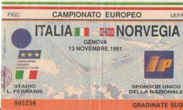 Biglietto ITALIA-NORVEGIA 13/11/1991 - Calcio