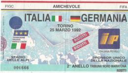 Biglietto ITALIA-GERMANIA 25/03/1992 - Calcio