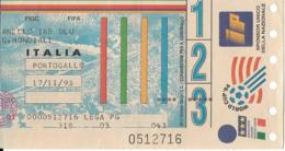Biglietto ITALIA-PORTOGALLO  17/11/1993 - Calcio