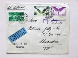SUISSE / SCHWEIZ / SWITZERLAND // 21.IV.1936, Air Mail Cover, ZÜRICH => ALEXANDRIA - EGYPT - Altri Documenti