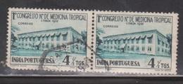 PORTUGUESE INDIA Scott # 516 Used Pair - Tropical Medicine Conference - Portuguese India