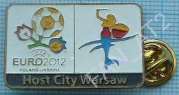 UKRAINE / Badge / POLAND / Pin. Football. Europe Championship. UEFA . EURO 2012. Host City Warsaw. - Fussball