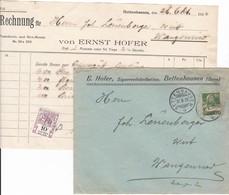 Rechnung E. Hofer, Zigarrenfabrikation, Bettenhausen, Fiskalmarke, Mit Kuvert 1922 - Suisse
