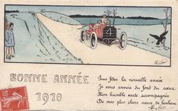 Cpa 2 Scans Illustrateur Signé A Définir Bonne Année 1910 Automobile  Precurseur - Altre Illustrazioni