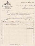 Rechnung F. Werthmüller, Liqueeur-Fabrik, Riedtwil, 1927 - Suisse