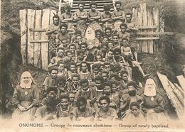 Cpa Ononghe Groupe De Nouveaux Chretiens - Papouasie-Nouvelle-Guinée