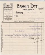 Erwin Ott, Wiedlisbach, Tuch- Und Bettwarenhandlung. Rechnung 1917. Jugendstil - Suisse