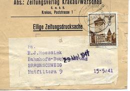 Wrapper, Streifband Zeitungsverlag Krakau 1941 - Bezetting 1938-45