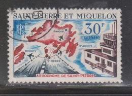 ST PIERRE & MIQUELON Scott # C374 Used - St Pierre Airport & Map - St.Pierre & Miquelon