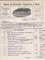 Bünte & Remmler, Frankfurt A,. Main. Rechnung 1912 Nach Menziken (Schweiz) - Elektrizität & Gas