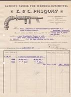 E & C. Pasquay, Wärmeschutzmittel-Fabrik. Rechnung 1907 Nach Menziken (Schweiz) - Deutschland
