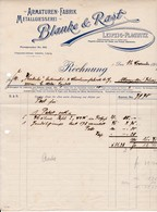 Blanke & Rast, Armaturen-Fabrik, Leipzig. Rechnung 1907 Nach Menziken (Schweiz) - Deutschland