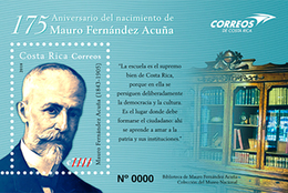 Costa Rica MNH Sheets 175 Anniversary Mauro Fernandez Books Education School - Costa Rica