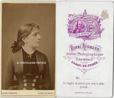 CDV Vers 1879-très Joli Portrait De Femme De Profil-photo Henri Rebmann à Chaux De Fonds-SUISSE - Photos