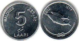 Maldives - 5 Laari 2012 UNC Bank Bag - Maldives