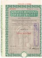 Action Ancienne - Società Romana Di Elettricita - Titulo Di 1957 - Electricité & Gaz