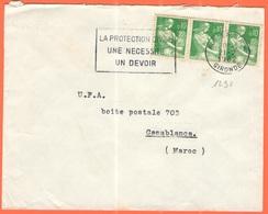 FRANCIA - France - 1962 - 3 X 0,10F Moissonneuse + Flamme La Protection Civile, Une Nécessité, Un Devoir - Viaggiata Da - Francia