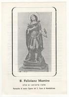 Santino Antico San Feliciano Martire Da Montefalcione - Avellino - Religione & Esoterismo
