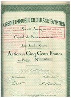 Titre Ancien - Crédit Immobilier Suisse - Egyptien - Titre De 1928 - N° 1470 - Banca & Assicurazione