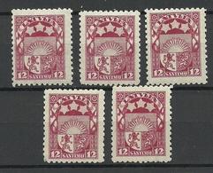 LETTLAND Latvia 1923 Michel 94 , 5 Exemplares, MNH - Lettland