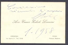 1958 Biglietto Autografo PRESIDENTE SENATO Ennio Zelioli Lanzini - Cremona - Autografi