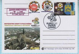 UKRAINE / Post Card / Poland / Football Soccer. UEFA. EURO 2012. The Result Of The Match Denmark - Germany. Lviv - Ukraine