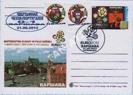UKRAINE  Post Card Poland Football Soccer. UEFA. EURO 2012 Quarter-final Match Result Czech Republic - Portugal. Warsaw - Ukraine